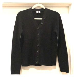 Uniqlo U Cotton Black Ribbed V neck Sweater SZ M